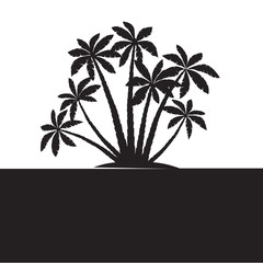 Black Palm Trees. Vector illustration on white background.