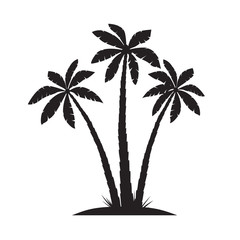 Set of Black Palm Trees. Vector illustration on white background