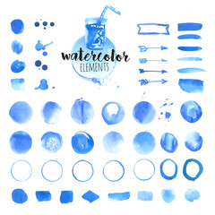 Set of hand drawn watercolor elements, brushes, splash, frames, stains, ribbons, pattern and background. Vector illustrations for graphic and web design.