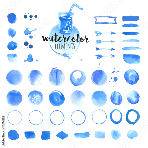Set of hand drawn watercolor elements, brushes, splash, frames ...