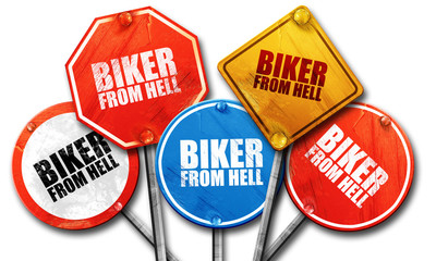biker from hell, 3D rendering, street signs