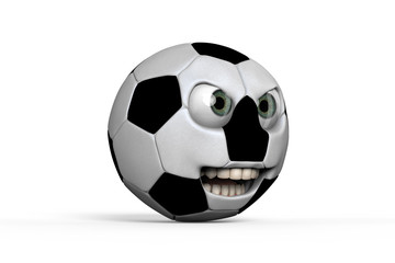 Aggressive looking footbal 3D rendering