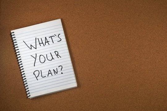 whats your plan written on a notebook