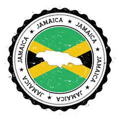 Jamaica map and flag in vintage rubber stamp of state colours. Grungy travel stamp with map and flag of Jamaica. Country map and flag vector illustration.