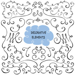 Hand drawn Set of Decorative design elements
