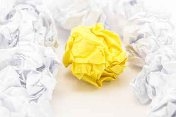 Crumpled paper sheets
