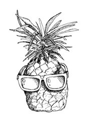 Vector sketch of pineapple in sunglasses