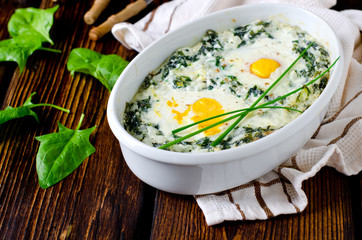 Spinach baked with cheese, egg and rice