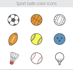 Sport balls color icons set