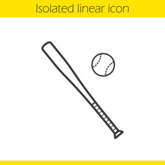 Baseball bat and ball linear icon