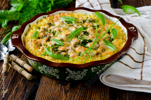 "Casserole millet, spinach and chicken"" Стоковая ..."