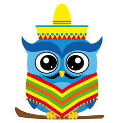 Funny mexican owl cartoon style