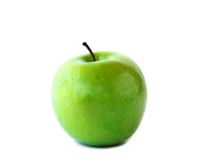 fresh green apple on white background