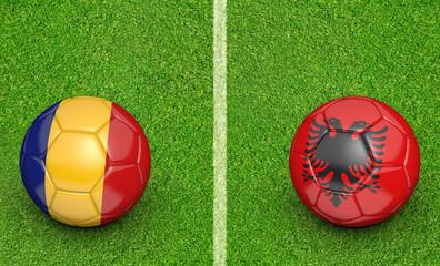 Team balls for Romania vs Albania football tournament match, 3D rendering