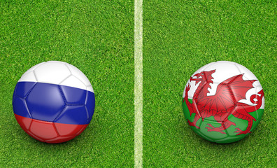 Team balls for Russia vs Wales football tournament match, 3D rendering