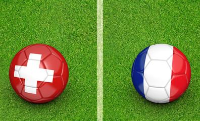 Team balls for Switzerland vs France football tournament match, 3D rendering