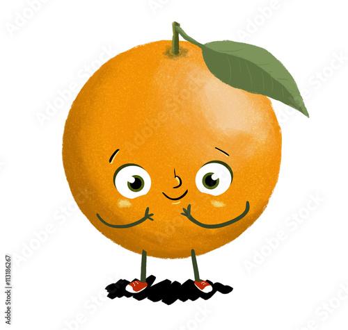 Dibujo de un naranja Naranja con ojos brazos y piernas Fruta