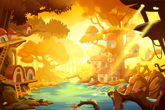 Watercolor Style Video Game Digital CG Artwork Concept Art Illustration Set 2: Tree House Forest Gold Ray of Sun. Realistic Fantastic Cartoon Style Character, Background, Wallpaper, Story, Card Design
