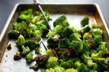 Broccoli on baking tray