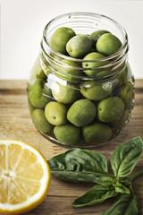 Green olives in jar