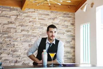 Handsome bartender with cocktail