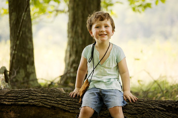 Portrait of smiling boy sitting on tree