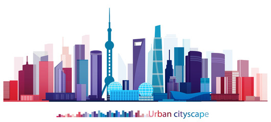 Colorful Building and City, Urban cityscape of Shanghai China, Abstract Shanghai City scene, Twilight in city, , Shanghai