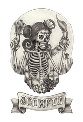 Zodiac Skull Scorpio.Hand pencil drawing on paper.