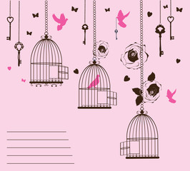 Poster Birds in cages vector illustration of a vintage card with cages and birds