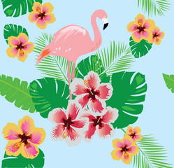 flamingo with flowers