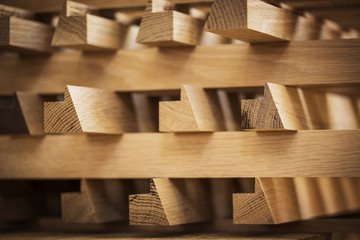 Wood arranged in workshop