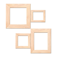 Vintage of old wooden picture frame isolated.