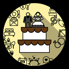Wedding Cake with Bride and Groom Figurines. Vector illustration