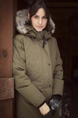 Portrait of woman in winter coat