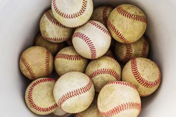 Overhead view of baseballs in bucket