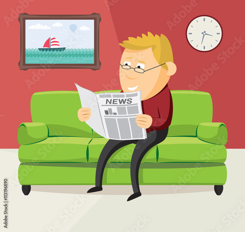 Happy Man Is Reading A Newspaper On The Sofa In The
