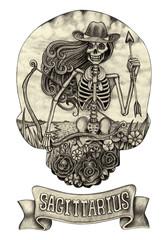 Zodiac Skull Sagittarius.Hand pencil drawing on paper.