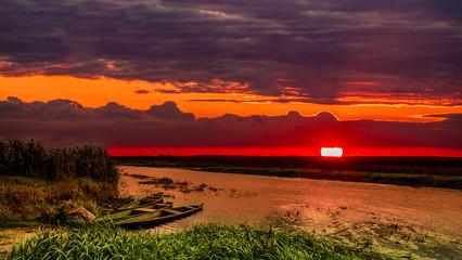 Fototapeta Podlasie-zachód słońca nad rzeką Narew obraz