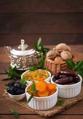 Mix dried fruits (date palm fruits, prunes, dried apricots, raisins) and nuts. Ramadan (Ramazan) food.