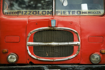 Close-up of red bus