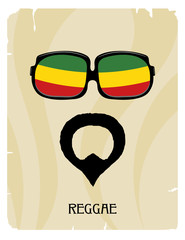 Abstract Rastaman man's face with a beard and glasses. Icon regg