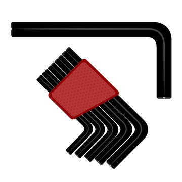 Allen wrench. Vector illustration of a hex wrench on a white bac