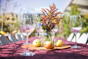Empty wineglasses with fruits and flower vase on outdoor table at garden party