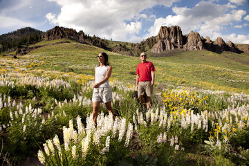 Couple walking on field against mountains
