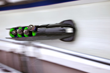 High angle view of bobsleigh team on track
