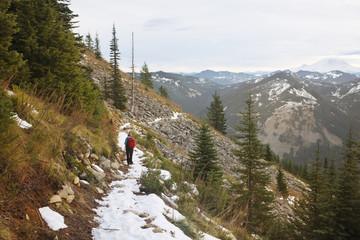 Female hiker on mountain