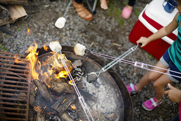 High angle view of kids roasting marshmallows