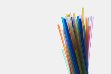 Multi Color flexible straws  on  white background