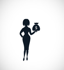 The silhouette of strict woman pointing on money bag. Could be used as illustration for the  wide range of financial  operations.