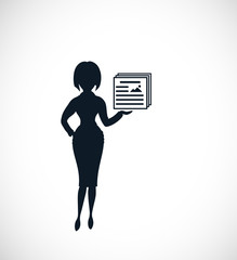 The silhouette of strict woman pointing on presentation slides. The concept of business or education  presentation.